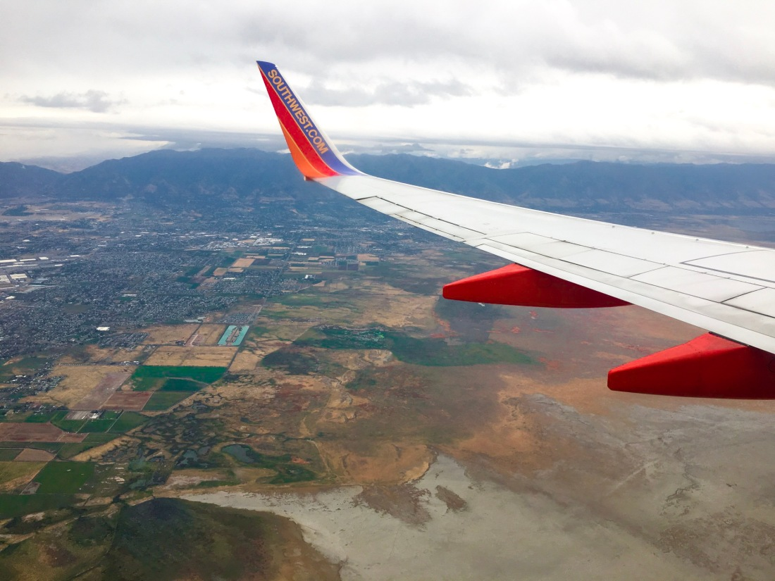 Flying over Salt Lake City, thanks to Southwest airlines.