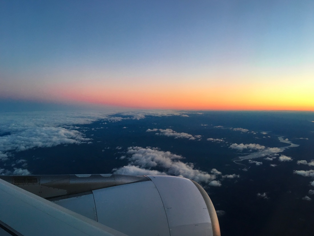 Sunrise over Australia from a Qantas plane